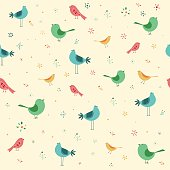 Vector illustration of a seamless pattern with cute hand drawn birds.