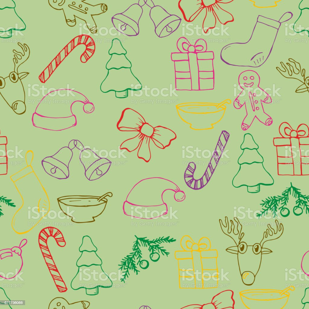 Hand Drawn Seamless Christmas Background Color Pen Objects Drawing ...