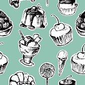 hand drawn seamless dessert background