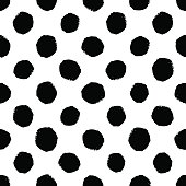 Hand drawn seamless dot pattern. Dry brush and rough edges
