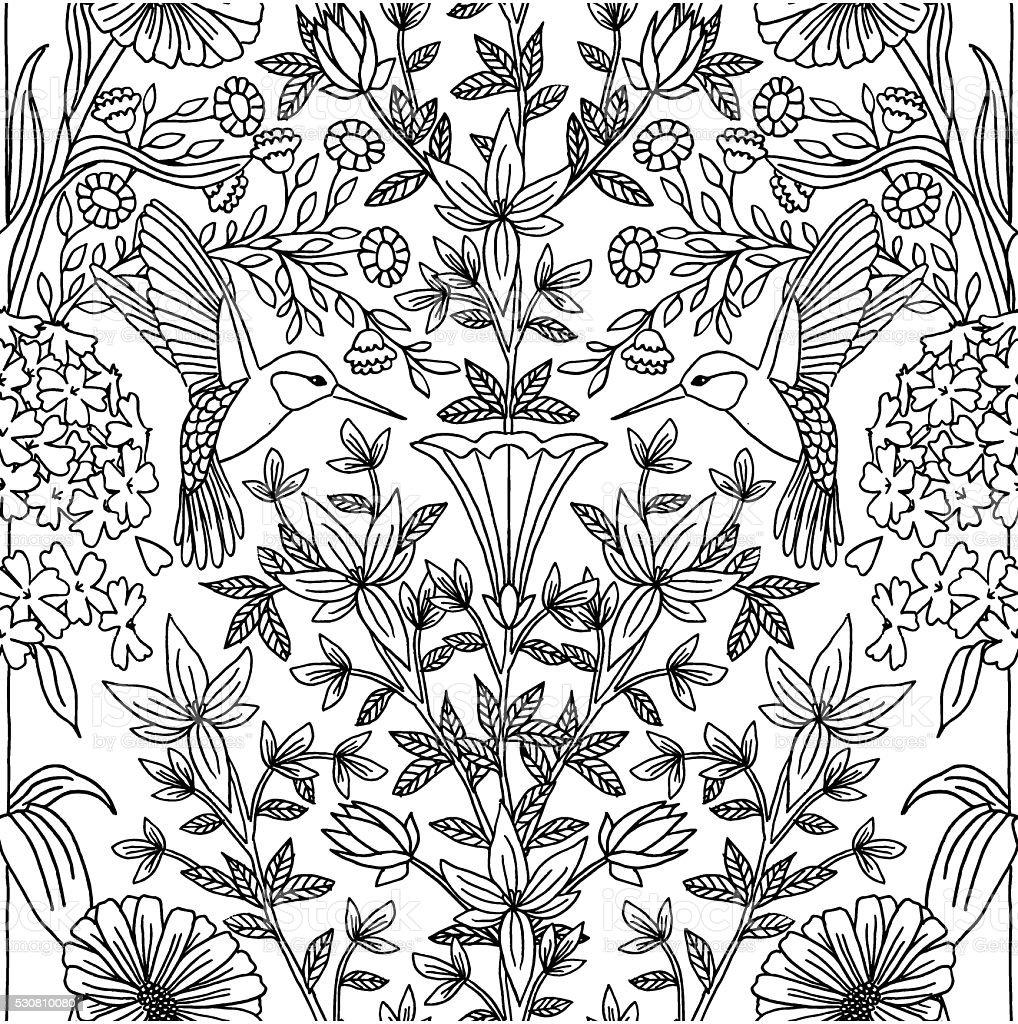 Hand drawn seamless hummingbird pattern vector art illustration