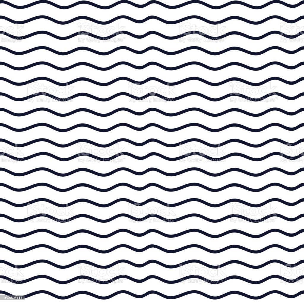 Hand drawn seamless indigo irregular wave line texture vector art illustration