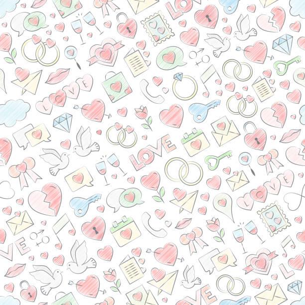 Amour sans soudure étirés modèle vector illustration de la main à la craie de couleur de remplissage. Texture extensible de vecteur pour la Saint Valentin - amour symboles extensible fond remplis de couleurs pastel crayon. - Illustration vectorielle