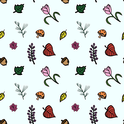 Hand Drawn Seamless Nature Floral Pattern