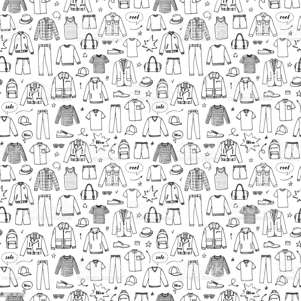 Hand drawn seamless pattern. Men's Clothing and accessories.