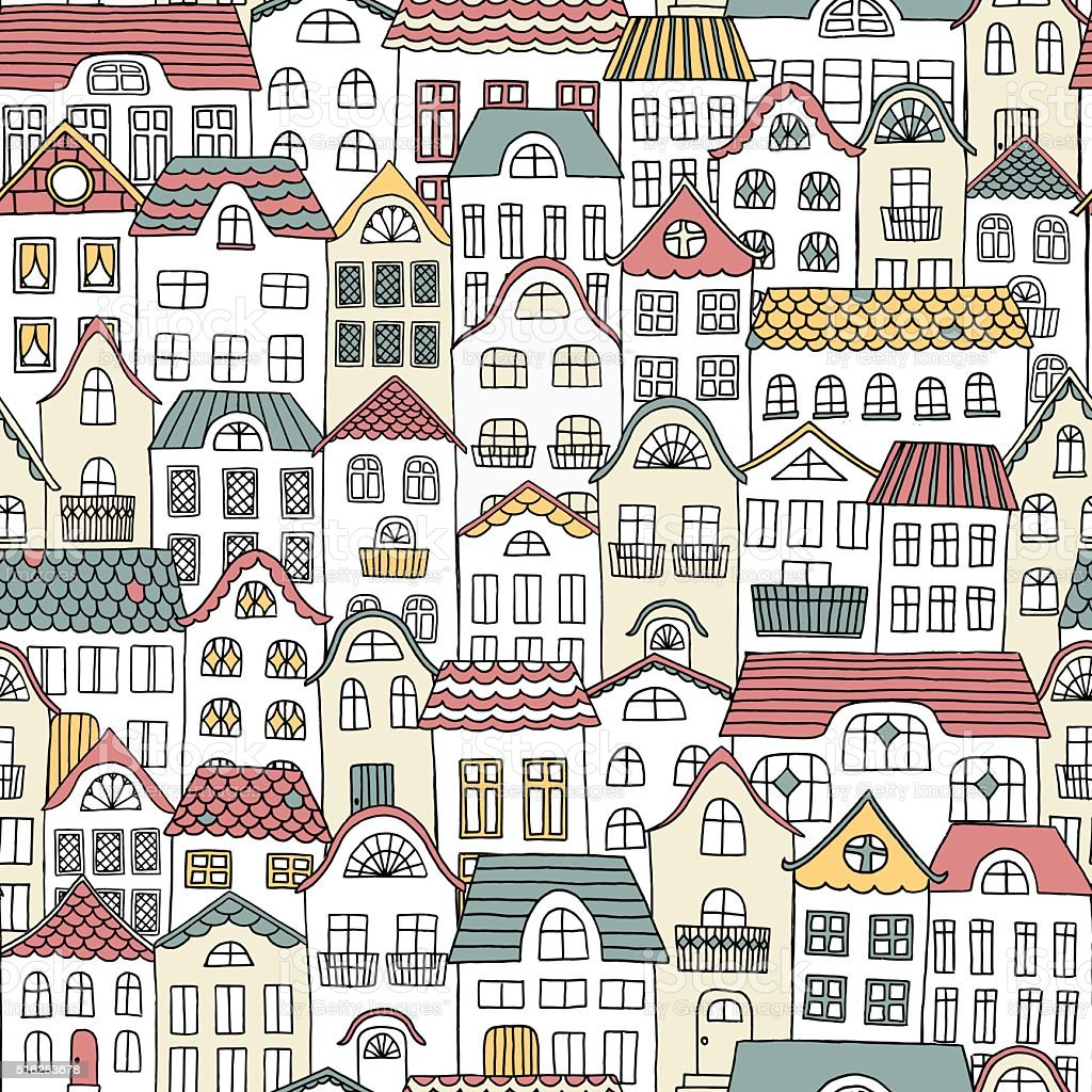 Hand drawn seamless pattern of a city vector art illustration