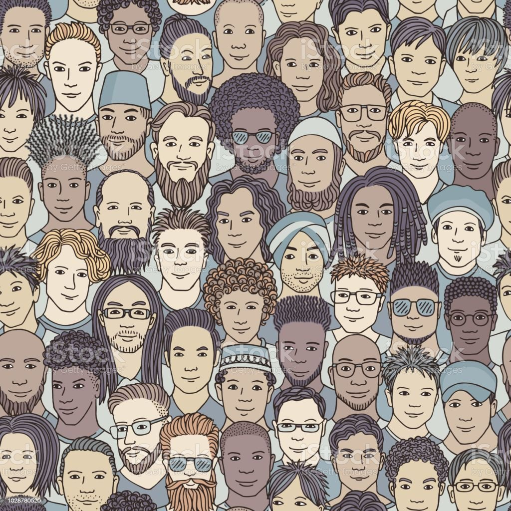 Hand drawn seamless pattern of a diverse crowd of men vector art illustration