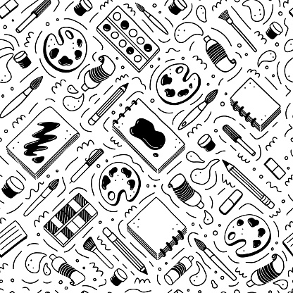 Hand drawn seamless pattern of creatives themes doodle element set. Vector illustration