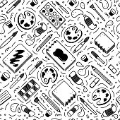 istock Hand drawn seamless pattern of creatives themes doodle element set. Vector illustration 1256183538