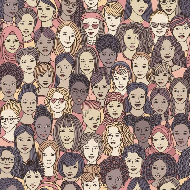 Hand drawn seamless pattern of diverse women vector art illustration