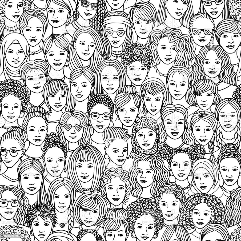 Hand drawn seamless pattern of diverse women vector art illustration