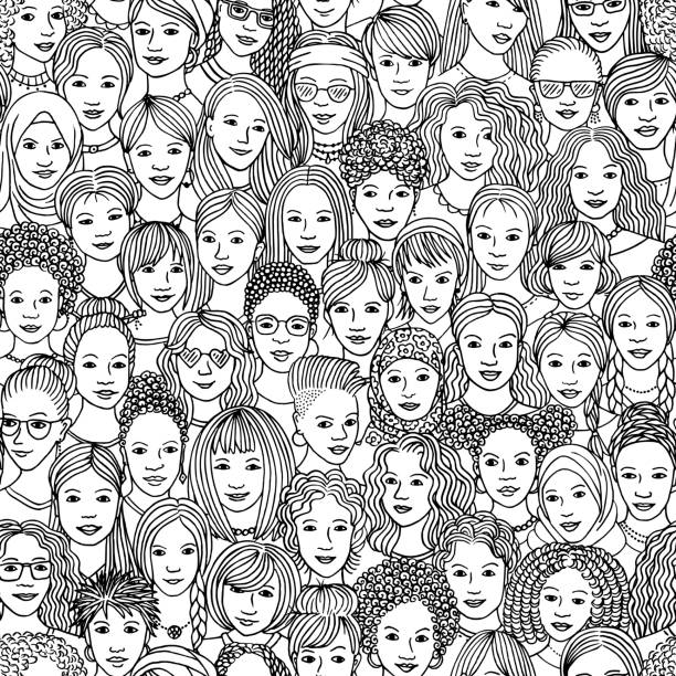 Hand drawn seamless pattern of diverse women Women - hand drawn seamless pattern of a crowd of different women from diverse ethnic backgrounds in black and white community drawings stock illustrations