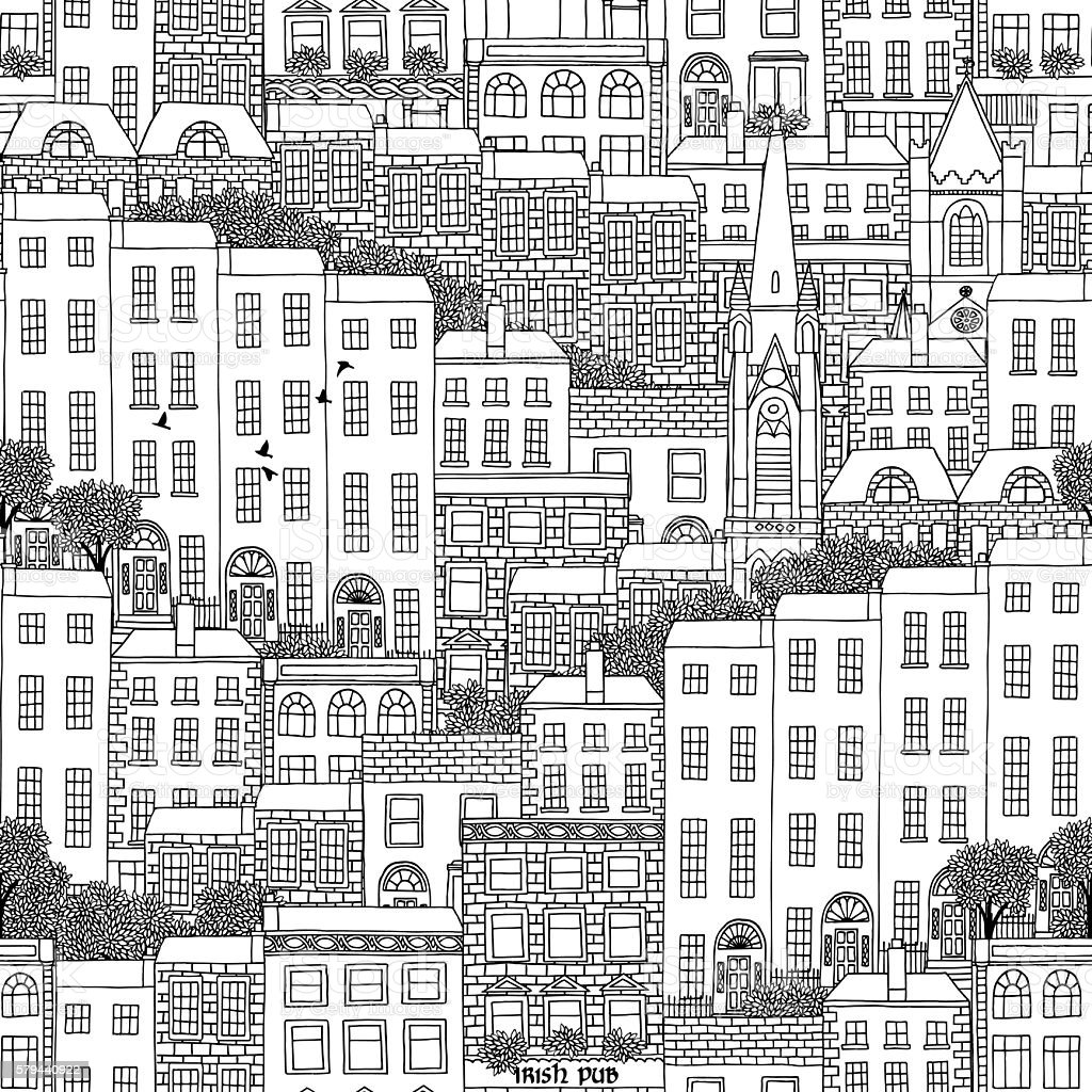 Hand drawn seamless pattern of Dublin vector art illustration