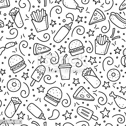 Hand drawn seamless pattern with fast food elements, burger, pizza, sandwich, hamburger, snack. Doodle sketch style. Fast food element for background, menu, wallpaper design. Vector illustration.