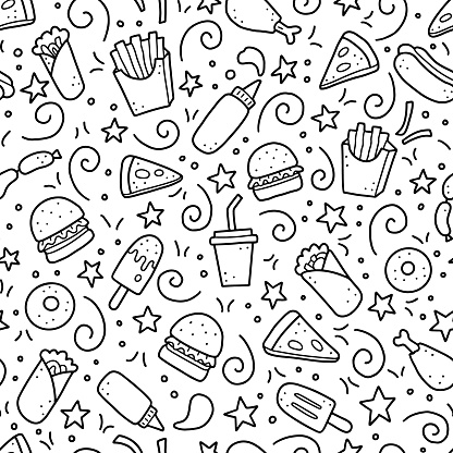 Hand drawn seamless pattern of fast food doodle. Vector illustration