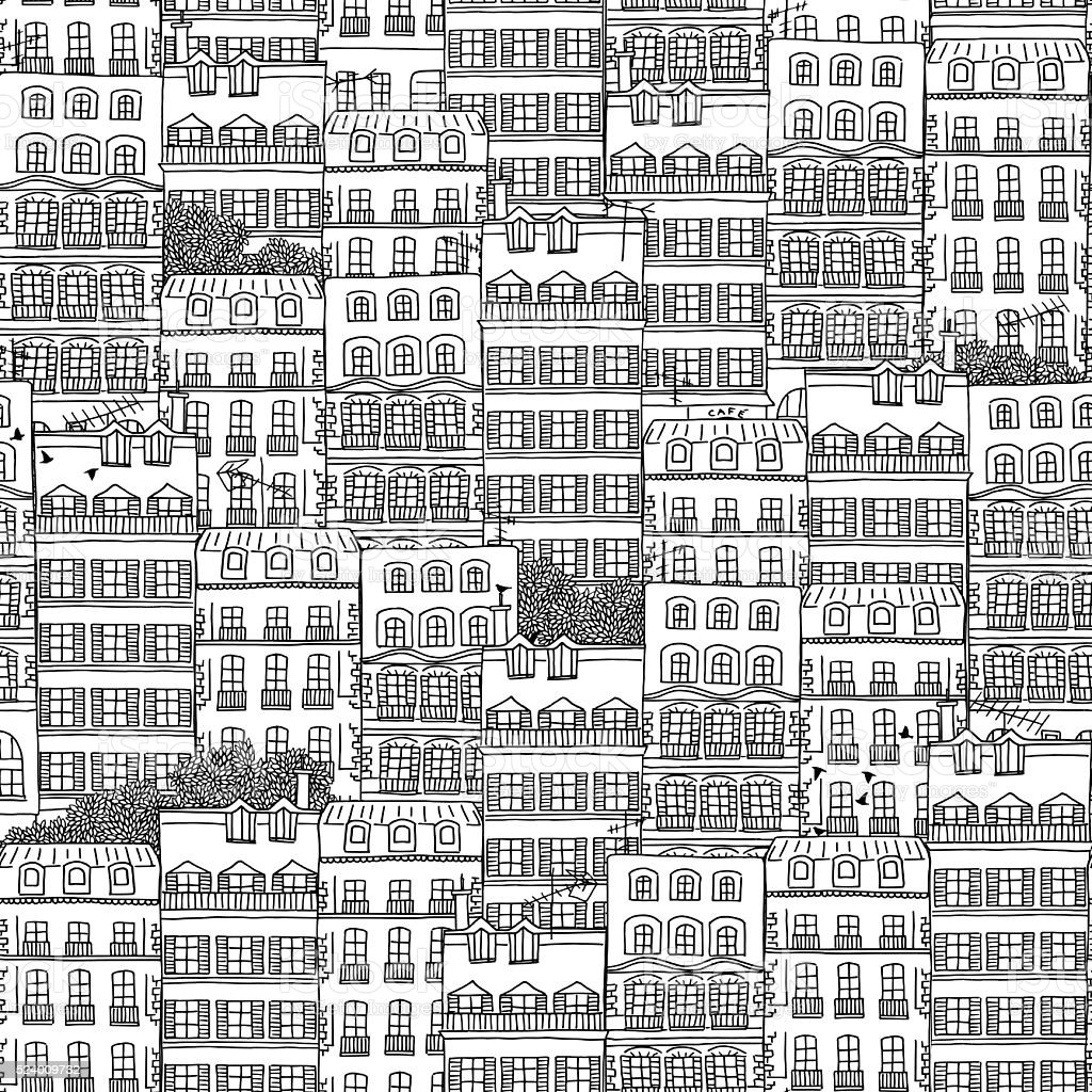 Hand drawn seamless pattern of French style houses vector art illustration