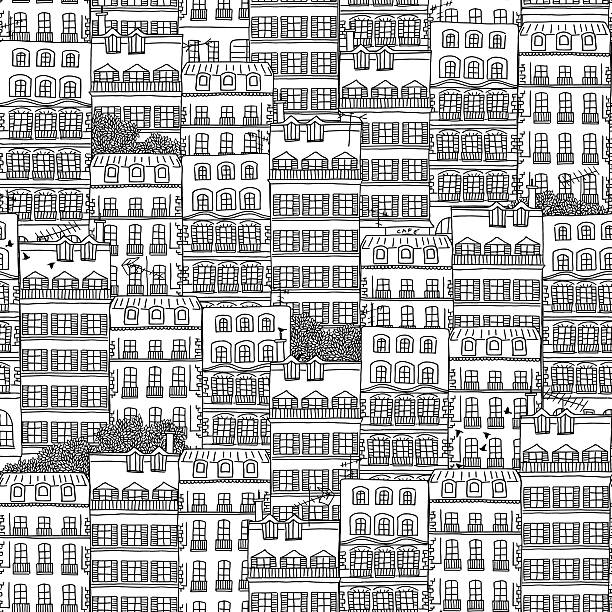 Hand drawn seamless pattern of French style houses Seamless pattern of black and white houses and trees paris black and white stock illustrations