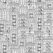 Black and white pattern of little houses with fire escape stairs