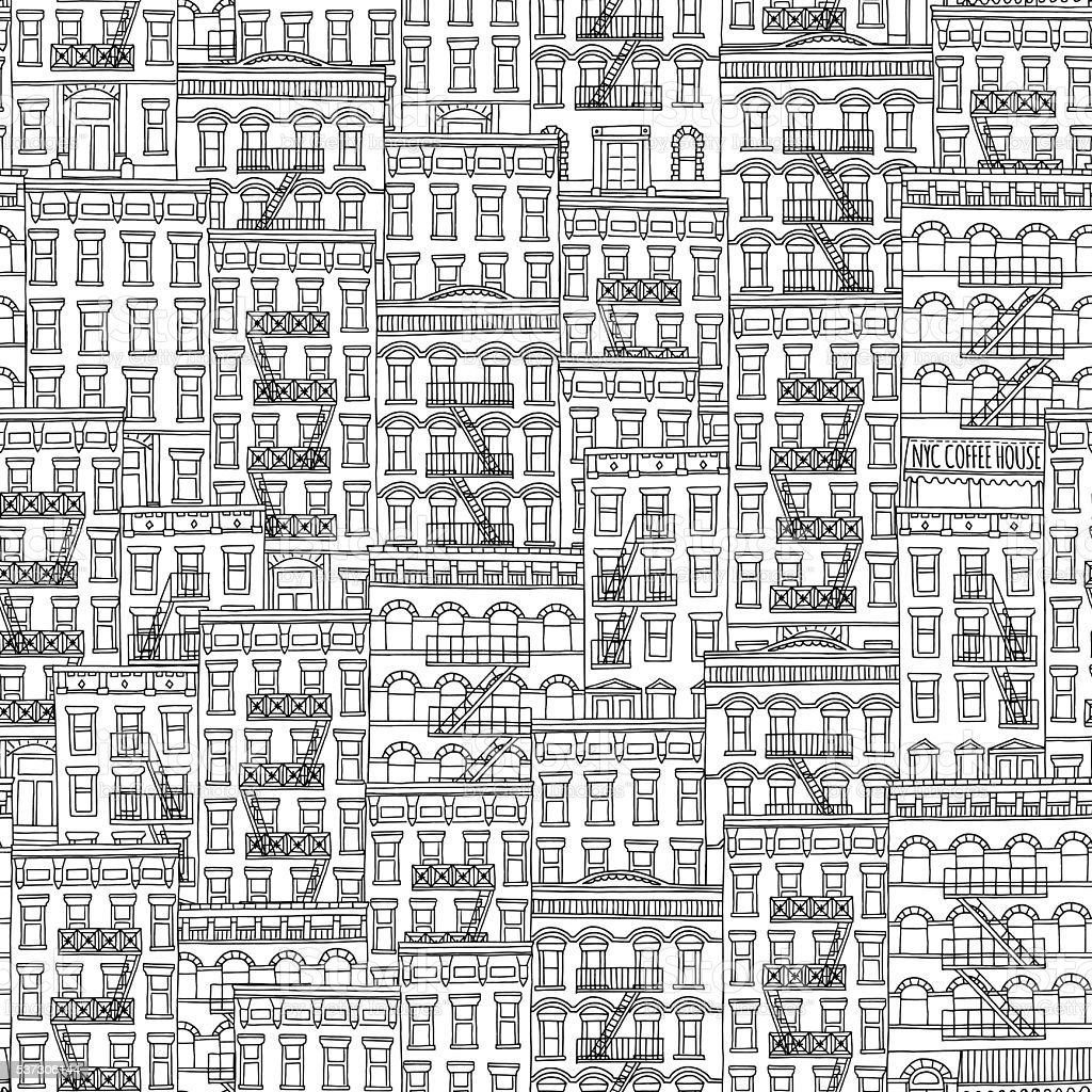 Hand drawn seamless pattern of New York style houses vector art illustration