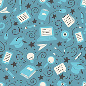 Hand drawn seamless pattern of online education elements, laptop, pencil, book. Doodle sketch style. Vector illustration for e-learning, science, school, knowledge concept design.