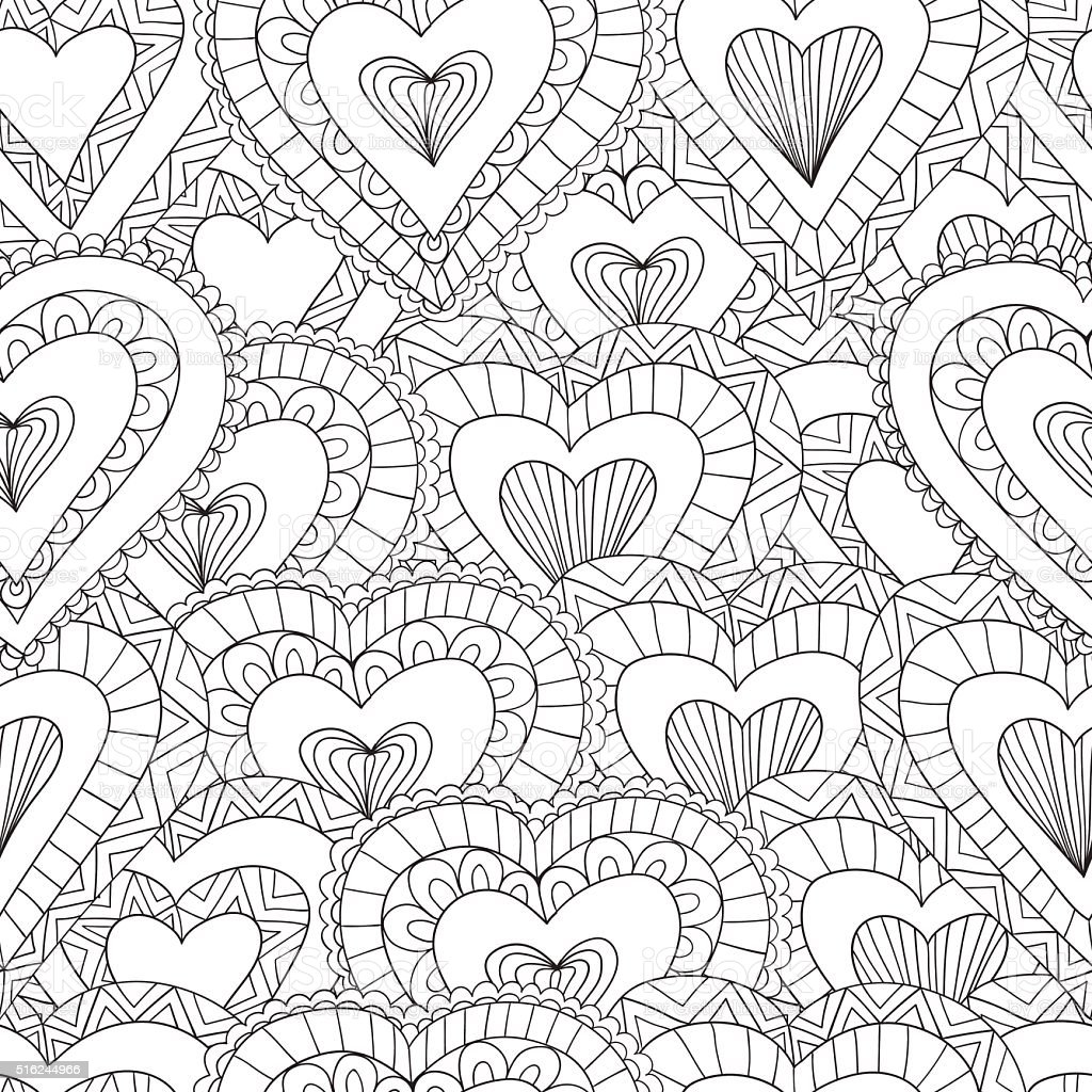 Hand drawn Seamless pattern of ornamental hearts vector art illustration