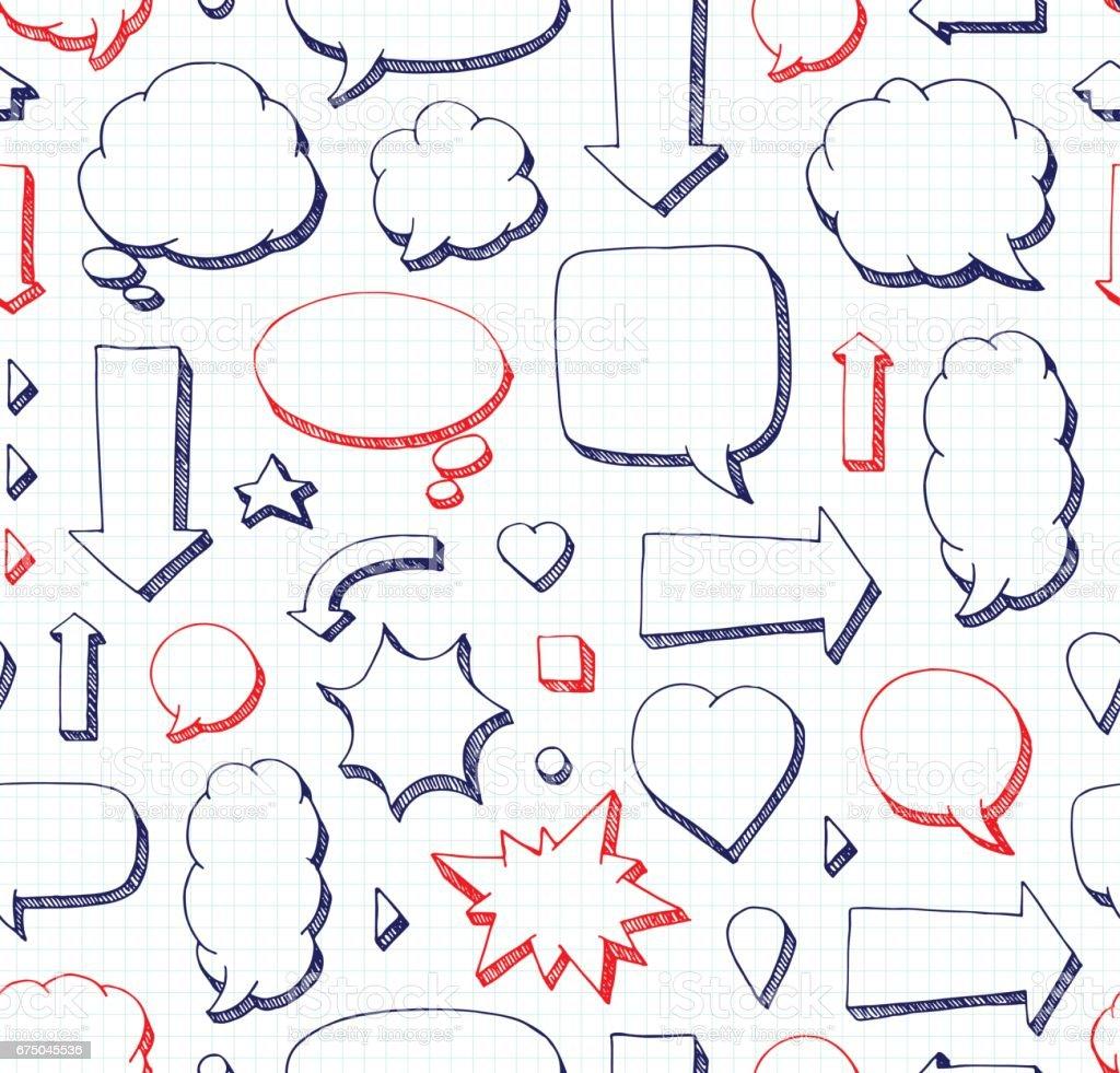 Hand Drawn Seamless Pattern Of Speech Bubbles School Style Stock
