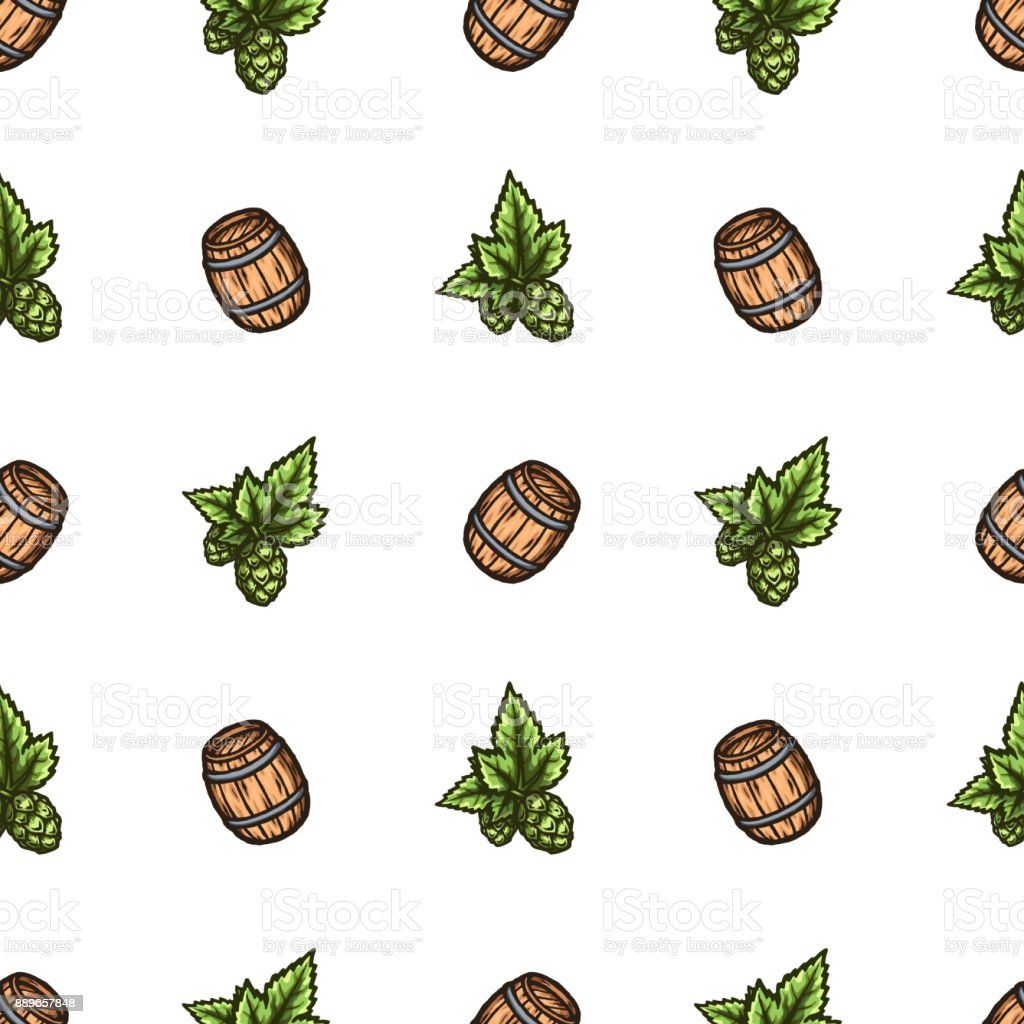 Hand drawn seamless pattern on a beer theme. vector art illustration