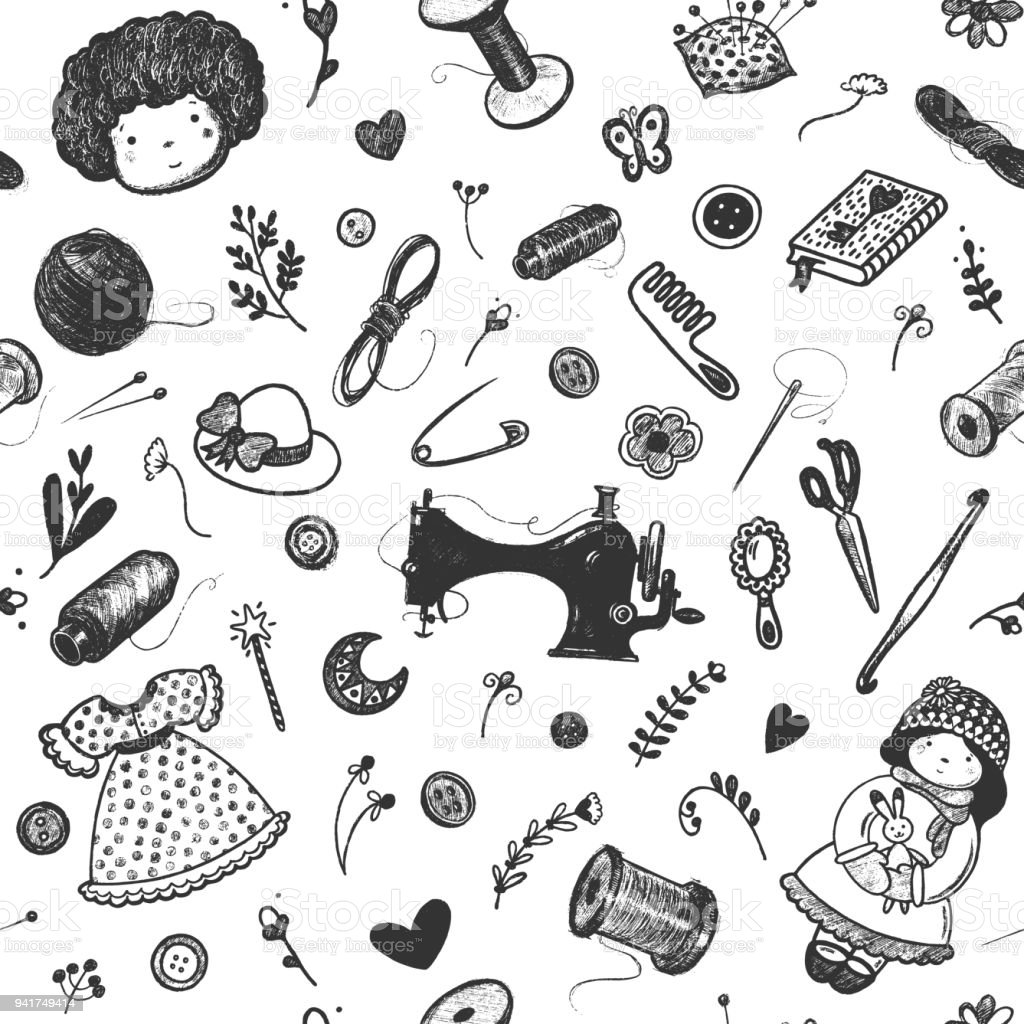 Ilustración de Mano Dibujada Patrón Sin Costuras Coser Accesorios ...
