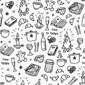 Hand drawn seamless pattern. Time to Hygge. Vector illustration on white background