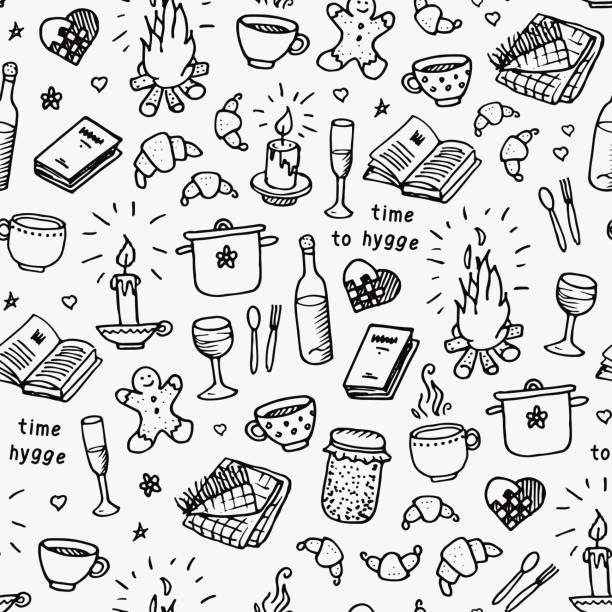 ilustraciones, imágenes clip art, dibujos animados e iconos de stock de mano dibujada de patrones sin fisuras. tiempo de hygge. ilustración de vector sobre fondo blanco - comida francesa