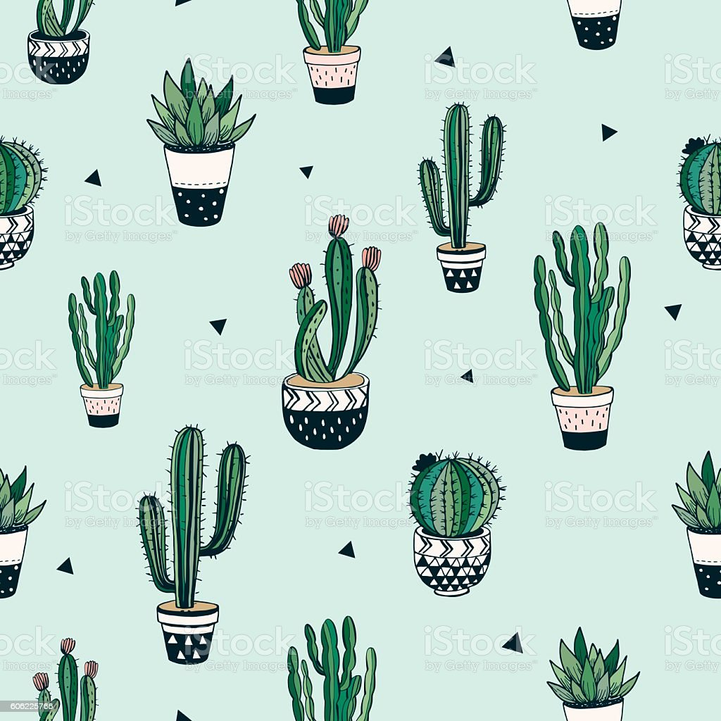 Hand drawn seamless pattern vector art illustration