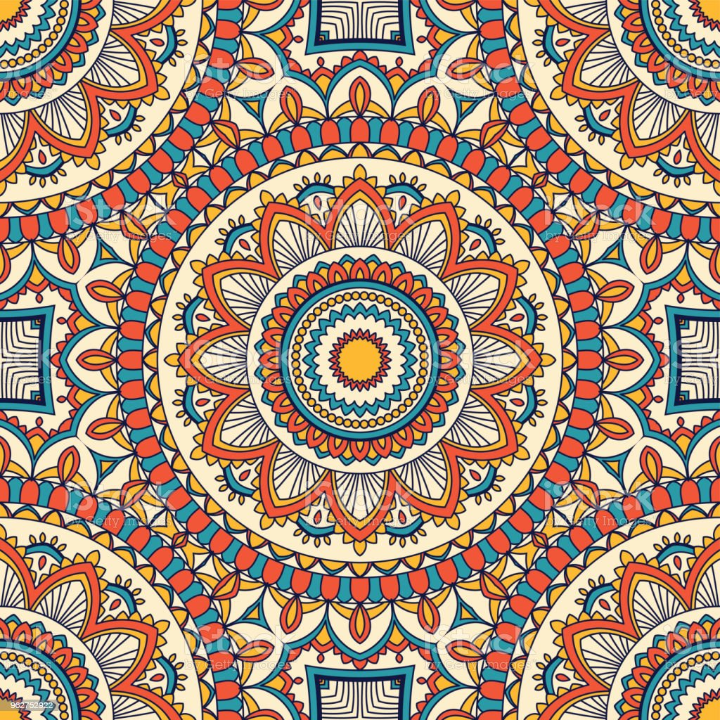 Hand drawn seamless pattern - arte vettoriale royalty-free di Arabesco - Stili