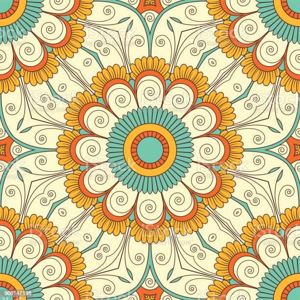 Ручная Нарисованная Бесшовная Картина — стоковая векторная графика и другие изображения на тему Абстрактный