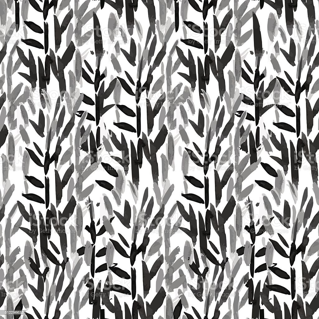 Hand drawn seamless pattern with bamboo sticks vector art illustration