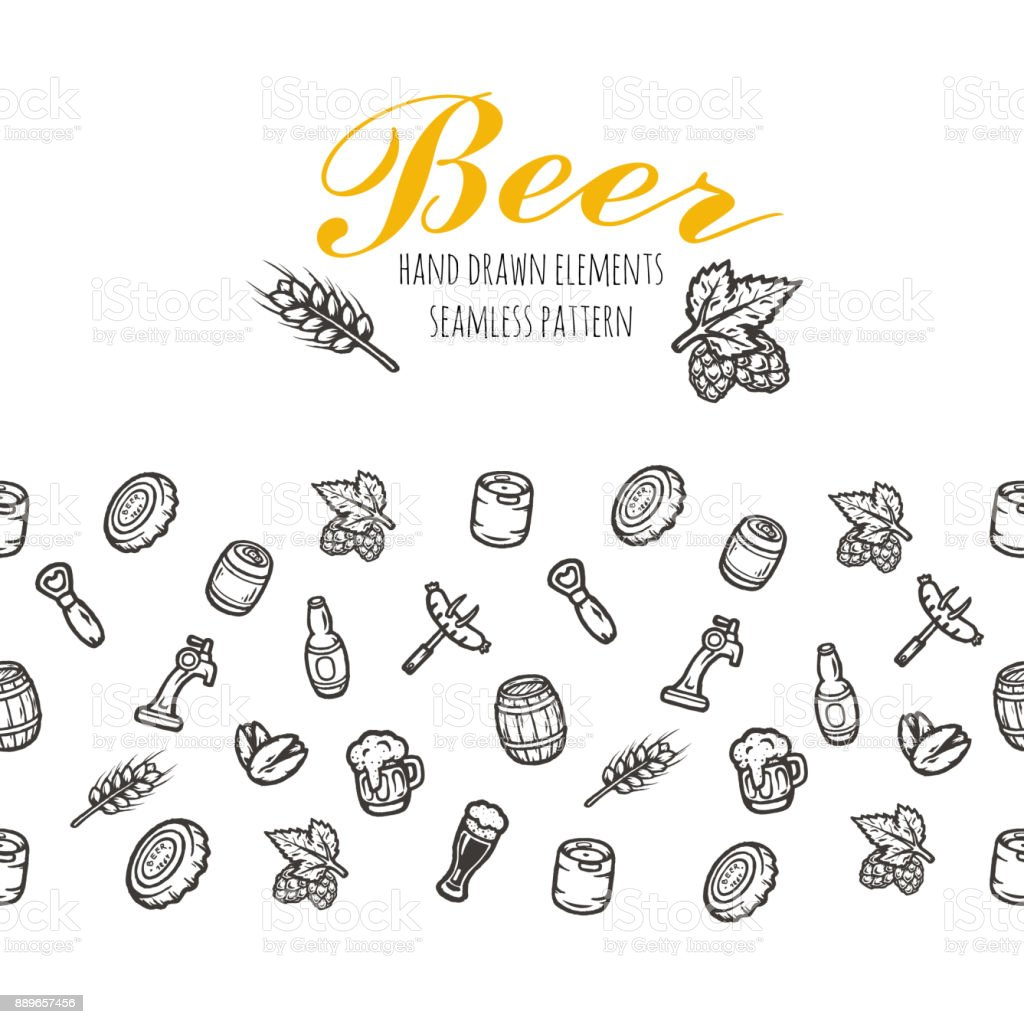 Hand drawn seamless pattern with beer stuff. vector art illustration
