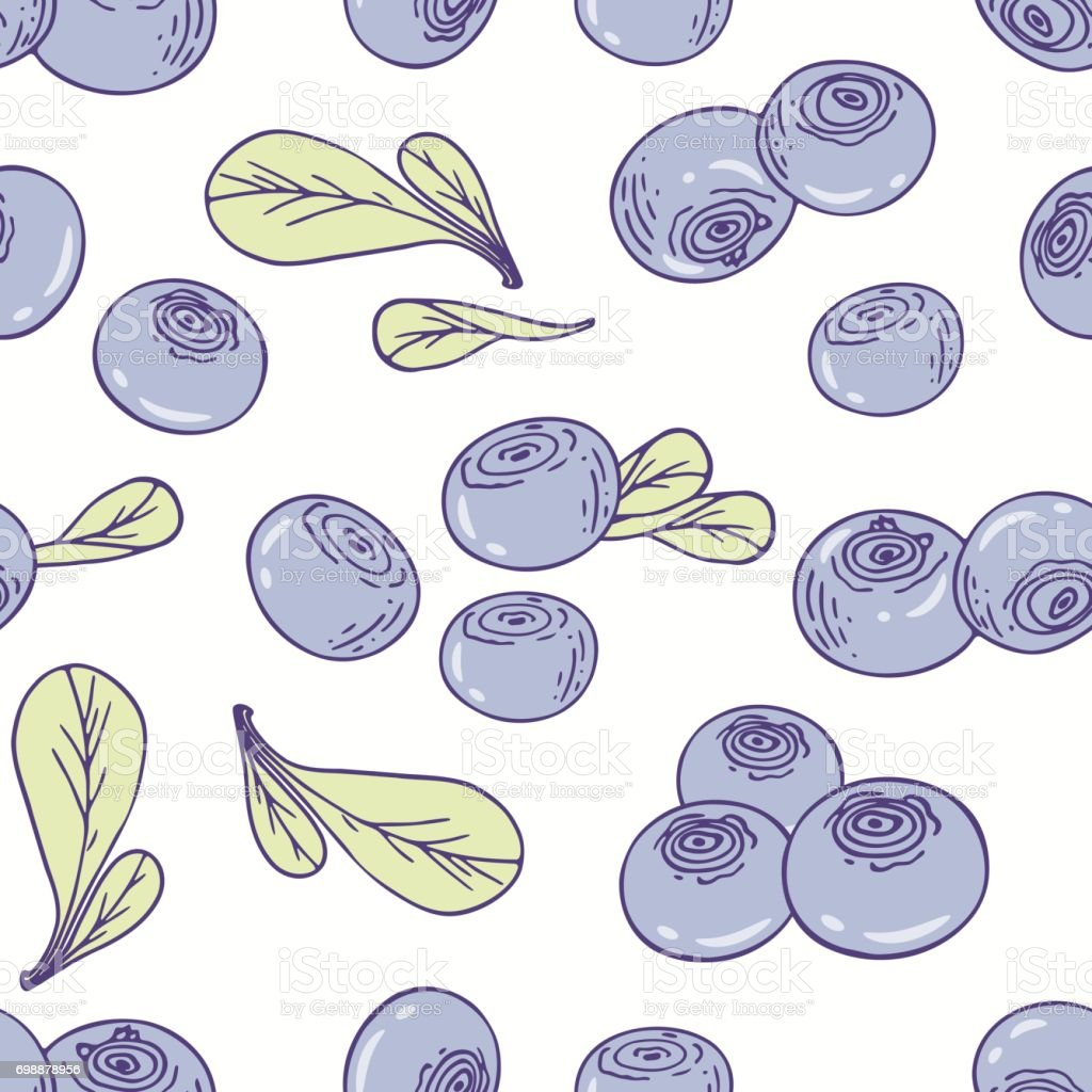 Hand Drawn Seamless Pattern With Blueberry Background For Cafe ...