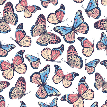 Hand drawn seamless pattern with butterflies