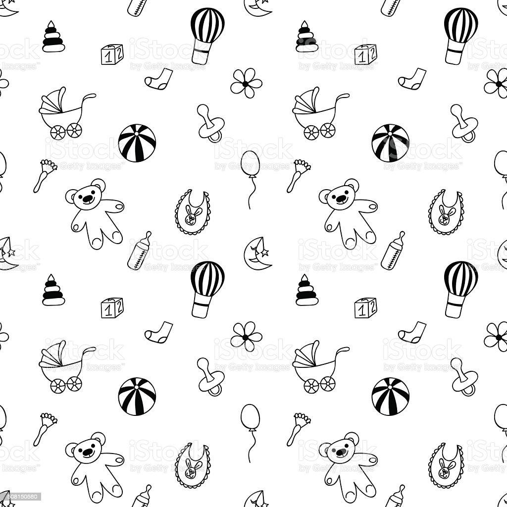 Ilustración de Mano Dibujado Patrón Sin Costuras De Juguetes Para ...