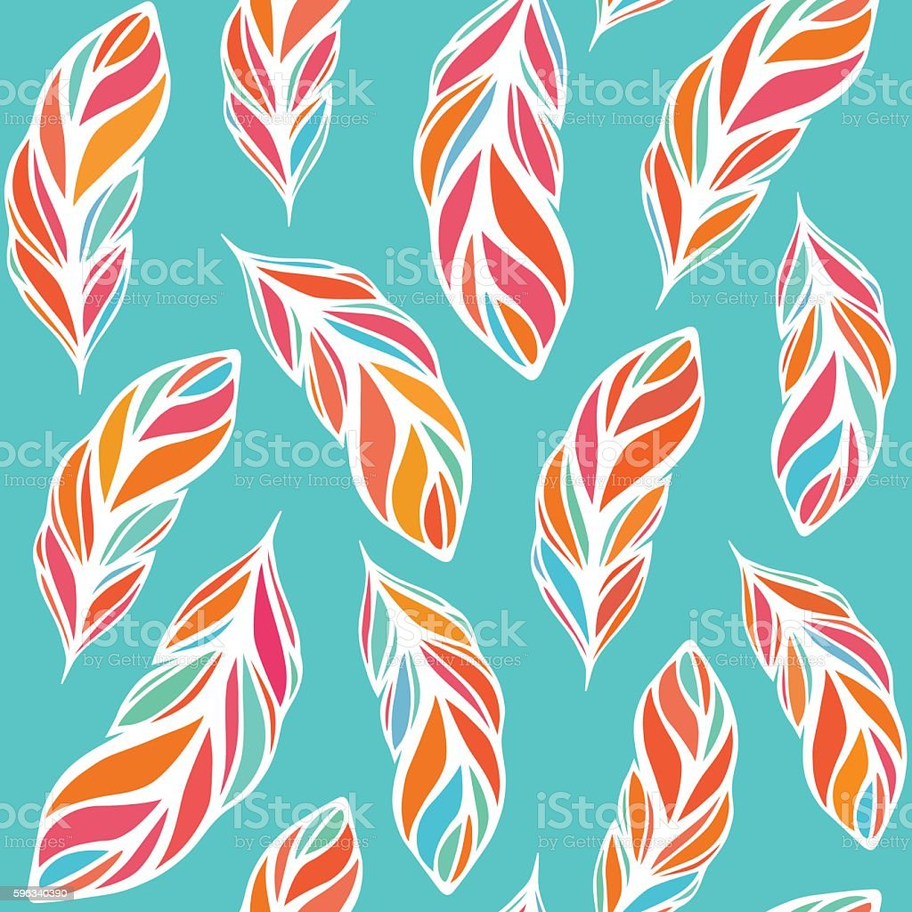Hand drawn seamless pattern with color feathers bird. royalty-free hand drawn seamless pattern with color feathers bird stock vector art & more images of abstract