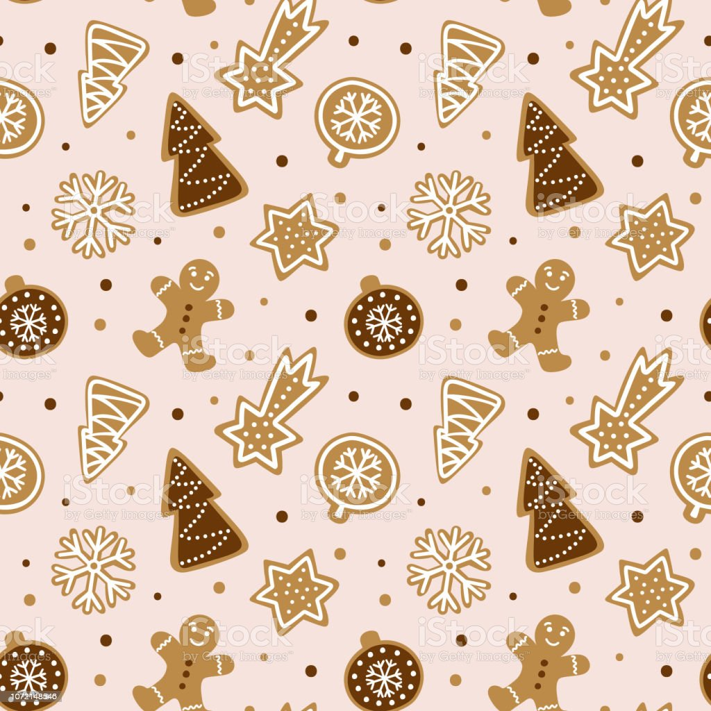 hand drawn seamless pattern with cookie cute gingerbread repeating vector id1072148546