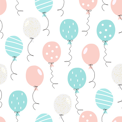 Hand drawn seamless pattern with cute blue and pink party air balloons. Сolorful doodle vector illustration for Birthday, baby room, greeting card, invitation, wallpaper, wrapping paper, packaging.