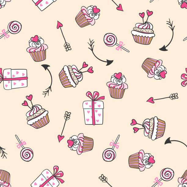 Vectores de Pastelitos Cupcakes Rosa Patrón Continuo y ...