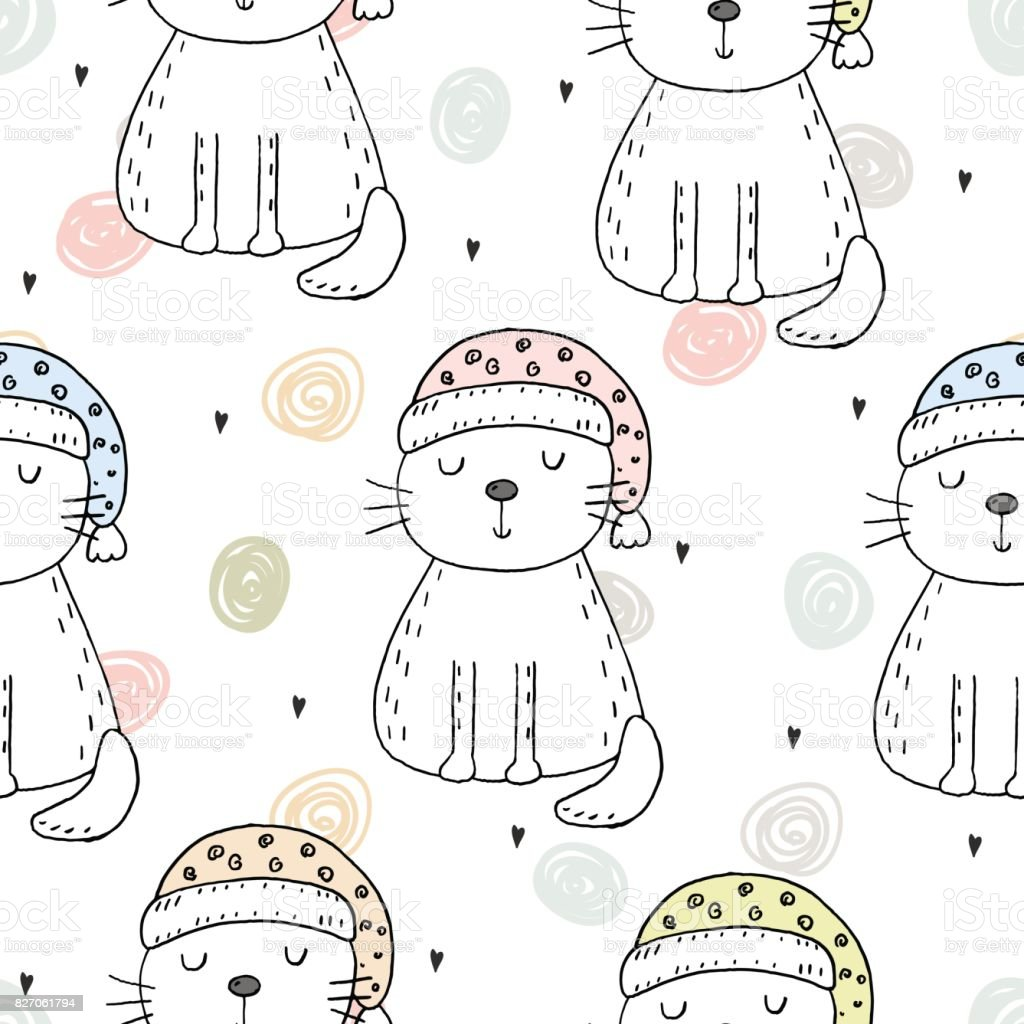À la main dessiné modèle sans couture avec chat mignon, doodle illustration vecteur d'enfants impression pour - Illustration vectorielle
