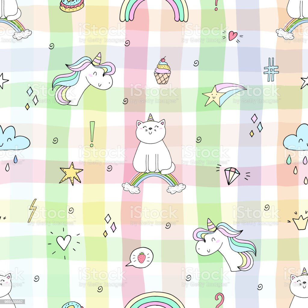 Hand drawn seamless pattern with cute cat on a rainbow, doodle illustration for kids vector print royalty-free hand drawn seamless pattern with cute cat on a rainbow doodle illustration for kids vector print stock vector art & more images of art