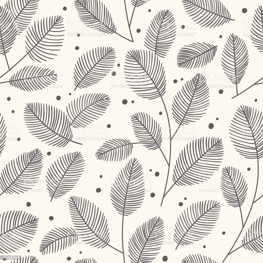Hand drawn seamless pattern with decorative leaves. Autumn vector illustration. vector art illustration