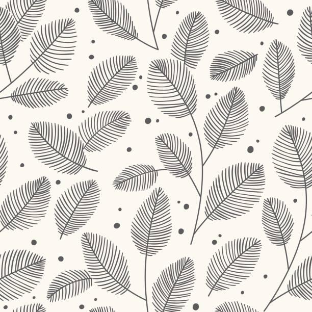 Modèle sans soudure dessiné de main à feuilles décoratives. Automne illustration vectorielle. - Illustration vectorielle