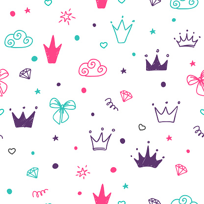 Hand drawn seamless pattern with doodle colored crowns.