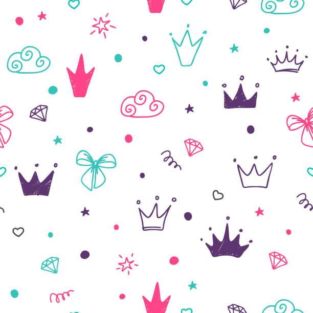 illustrazioni stock, clip art, cartoni animati e icone di tendenza di motivo senza cuciture disegnato a mano con corone colorate a doodle. - principessa