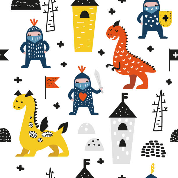 ilustrações de stock, clip art, desenhos animados e ícones de hand drawn seamless pattern with dragons and knights. creative childish background with cute hero boys for fabric, textile, wallpaper, decoration, prints. vector illustration - super baby