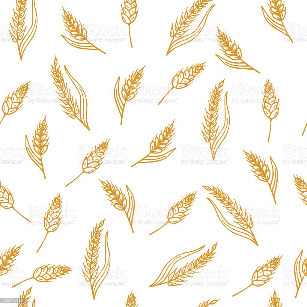 Hand drawn seamless pattern with ears of wheat vector art illustration